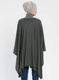 Green - Crew neck - Unlined - Poncho