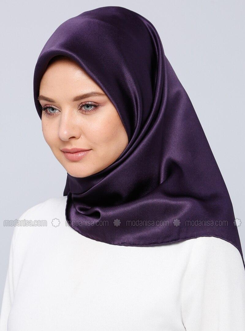 Purple - Plain - %100 Silk - Satin - Crepe - Scarf