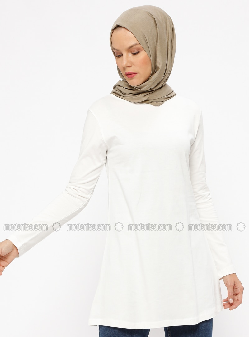 Cream - Crew neck - Cotton - Tunic
