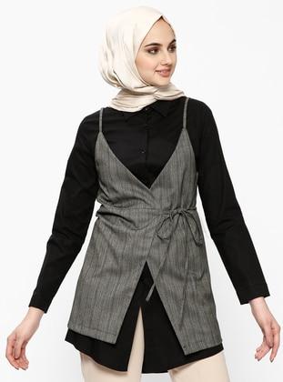 Black - Unlined - Cotton - Suit