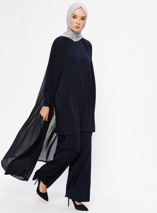 Navy Blue - Unlined - Suit - Ferrace By