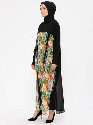 Black - Floral - V neck Collar - Tunic - Ferrace By