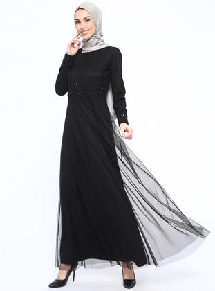 95595b0b156 Black - Fully Lined - Crew neck - Muslim Evening Dress