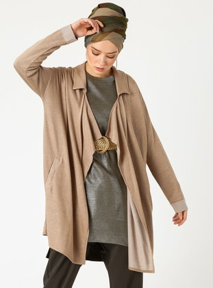 Beige - Shawl Collar -  - Cardigan