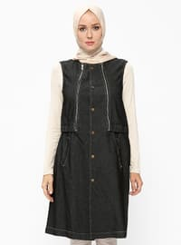 Black - Unlined - Crew neck - Vest