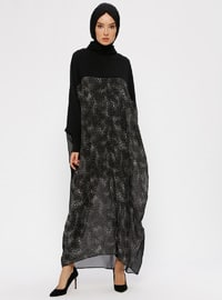 Black - Gray - Floral - V neck Collar - Tunic - Ferrace By
