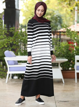Black - Stripe - Crew neck - Unlined - Dresses - İnşirah