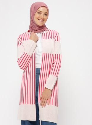 Pink - Beige - Stripe - Point Collar - Acrylic - Cardigan
