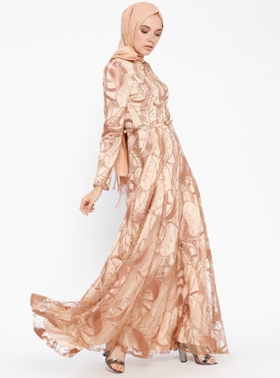 Brown - Unlined - Polo neck - Muslim Evening Dress