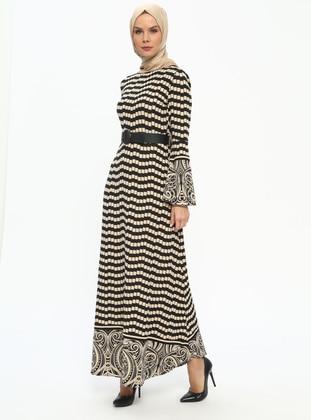 Tavin Desenli Elbise - Siyah