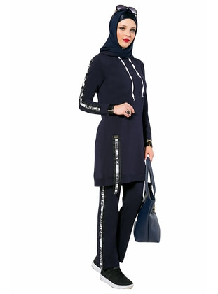 Navy Blue - Crew neck - Tracksuit Set
