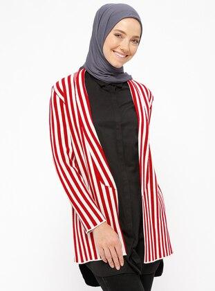 Red - Beige - Stripe - Unlined - Jacket