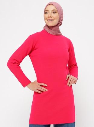 Pink - Fuchsia - Polo neck - Acrylic - Tunic