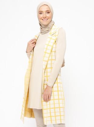 Beige - Mustard - Checkered - Unlined - Shawl Collar - Acrylic - Vest