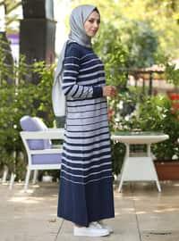 Lacivert - Çizgili - Yuvarlak yakalı - Astarsız kumaş - Elbise