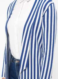 Beige - Saxe - Stripe - Unlined - Jacket