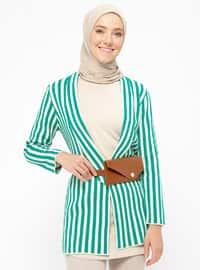 Green - Beige - Stripe - Unlined - Jacket