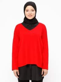 Red - V neck Collar - Acrylic - Jumper