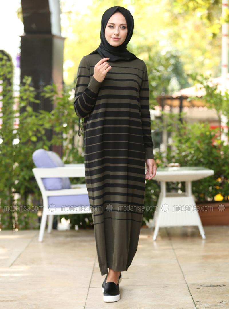 Khaki   Stripe   Crew Neck   Unlined   Dresses by Modanisa
