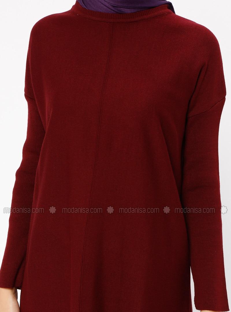 maroon crew neck tunic