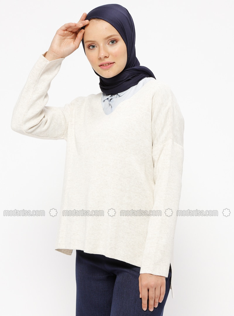Beige - V neck Collar - Acrylic - Jumper