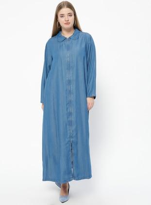 Blue - Unlined - Round Collar - Denim - Abaya