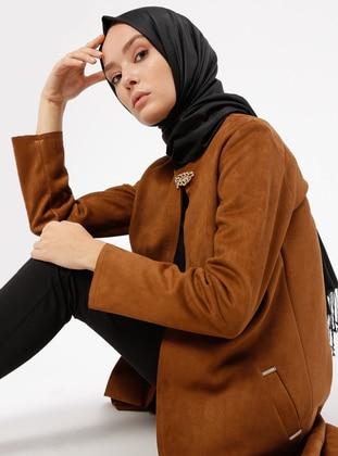 Camel - Unlined - Crew neck - Jacket