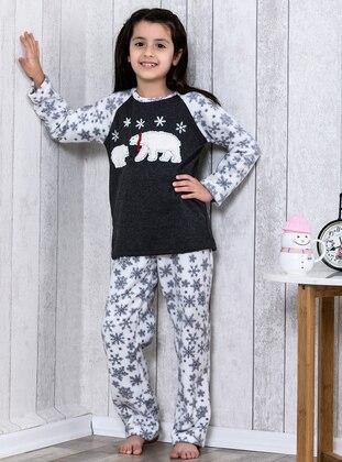 Navy Blue - Crew neck - Multi - Kids Pijamas