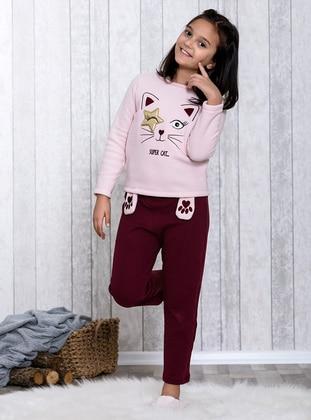Maroon - Crew neck - Multi - Kids Pijamas