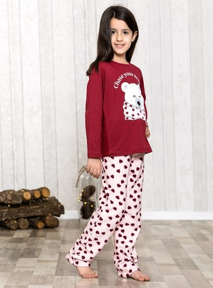 Maroon - Crew neck - Multi - Kids Pijamas