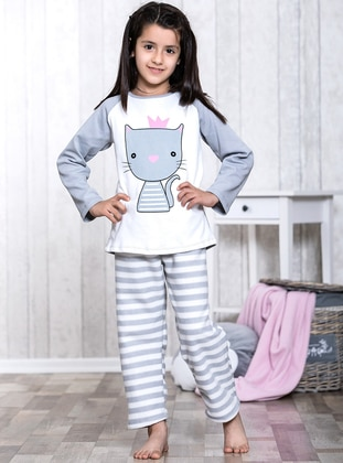 Gray - Crew neck - Multi - Kids Pijamas