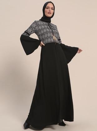 5603e499a5 Black - Ecru - Multi - Crew neck - Fully Lined - Dresses
