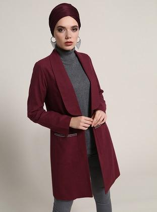 Doğal Kumaşlı Cep Detaylı Ceket - Bordo - Refka Ürün Resmi