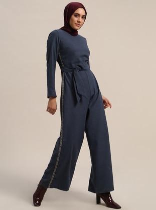 Navy Blue - Unlined - Crew neck - Cotton - Jumpsuit