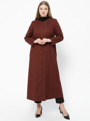 Maroon - Plum - Fully Lined - Crew neck - Plus Size Coat - Nihan