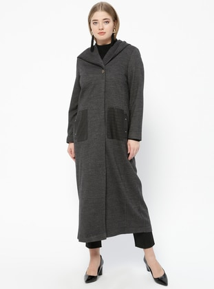 Gray - Fully Lined - V neck Collar - Plus Size Coat - Nihan