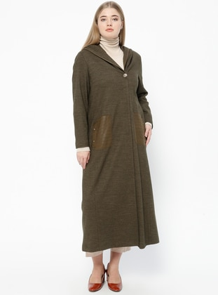 Khaki - Fully Lined - V neck Collar - Plus Size Coat - Nihan