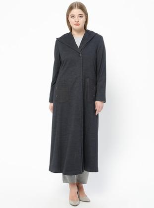 Navy Blue - Fully Lined - V neck Collar - Plus Size Coat