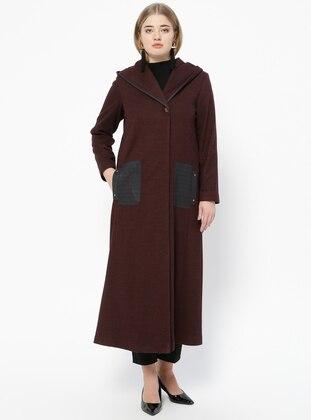 Plum - Fully Lined - V neck Collar - Plus Size Coat