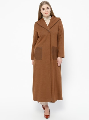Tan - Fully Lined - V neck Collar - Plus Size Coat - Nihan