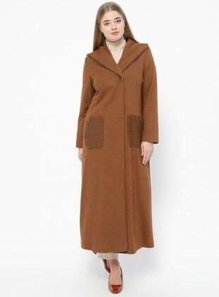 Tan - Fully Lined - V neck Collar - Plus Size Coat - Nihan