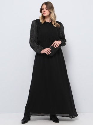 Black - Fully Lined - Crew neck - Muslim Plus Size Evening Dress - Alia
