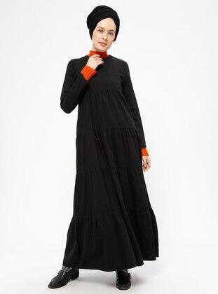 Black - Crew neck - Unlined - Cotton - Denim - Dresses