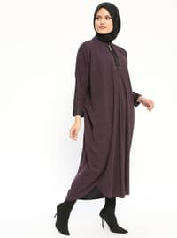 Purple - Unlined - Crew neck - Wool Blend - Abaya