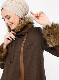 Brown - Unlined - Crew neck - Topcoat