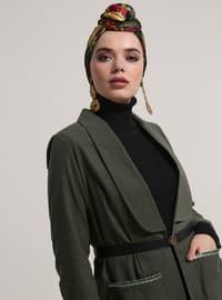 Khaki - Unlined - Shawl Collar - Cotton - Jacket
