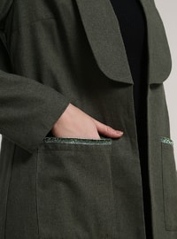 Khaki - Unlined - Shawl Collar - Cotton - Jacket