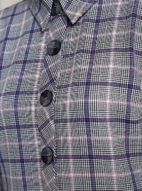 Purple - Plaid - Point Collar - Tunic