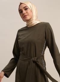 Khaki - Unlined - Crew neck - Cotton - Jumpsuit