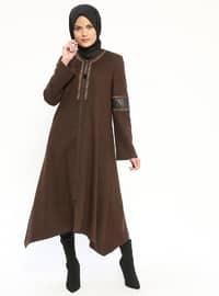 Brown - Fully Lined - V neck Collar - Coat